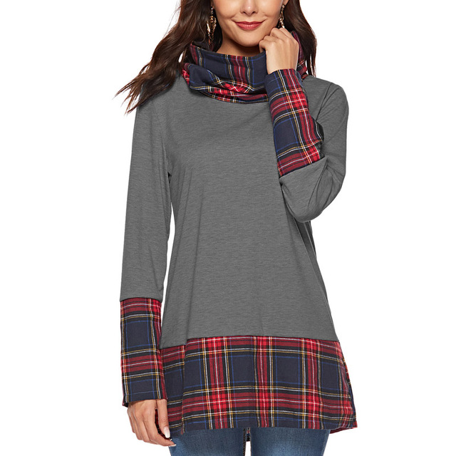 2019 Spring Women Patchwork Long Pullover Tshirts Female Long Sleeve Turtleneck Gray Burgundy Plaid Print T-shirt Blusa Feminina