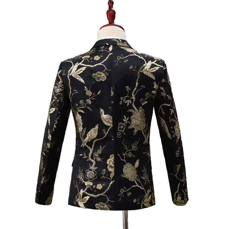 SHENRUN 新デザインメンズスタイリッシュな刺繍ロイヤルレッド花柄スーツ歌手結婚式新郎タキシード衣装