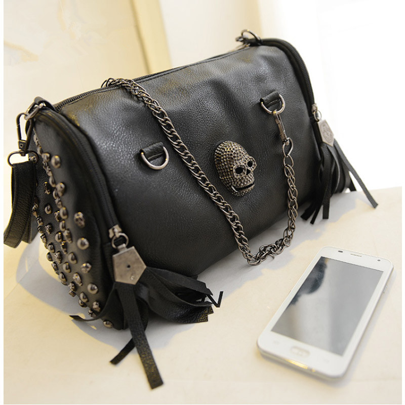 2017Brand New Fashion European and American Style Women Handbags Tassel Skull Chain bag PU leather Shoulder Messenger bags women messenger bags crossbody small shoulder bag ladies leather luxury brand zipper handbags 2017 european and american style 4