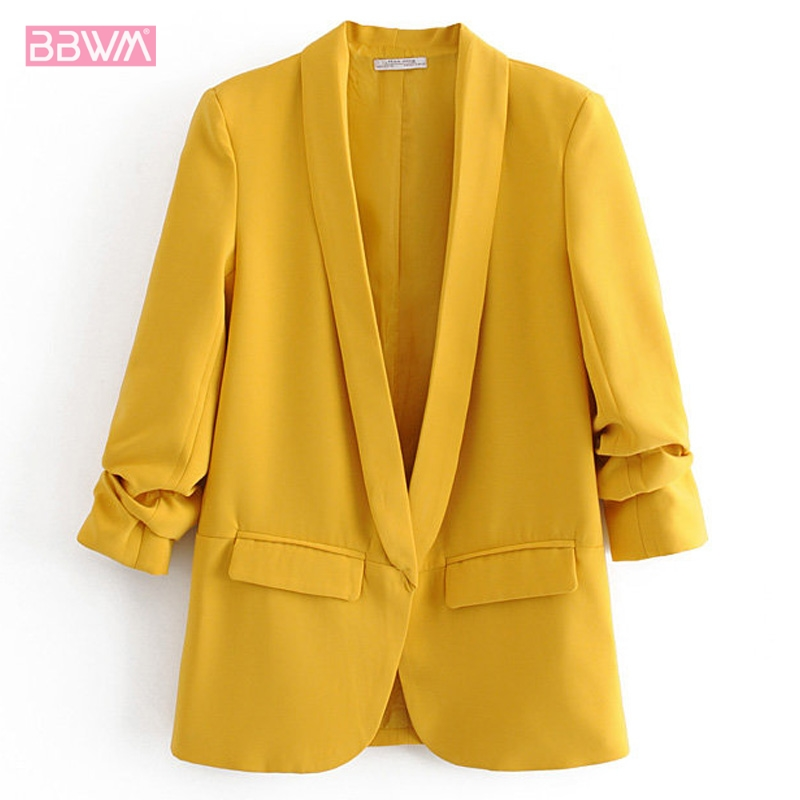 2019 Autumn New Candy Color Flip Leader Fold Thin Casual Jacket Female Yellow Red Casual Holiday Women's Coat Simple