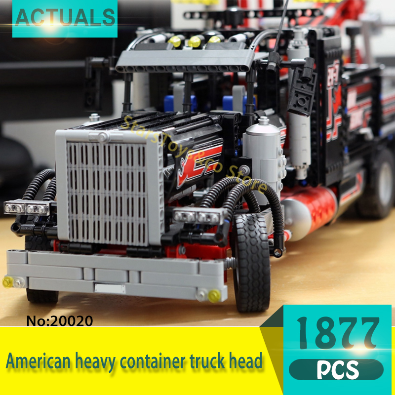 Technic Series 20020 1877Pcs American heavy container truck head Model Building Blocks Set  Bricks toys For Children Gift decool 3345 technic city series mini container truck 119pcs building block educational toys for children compatible legoe
