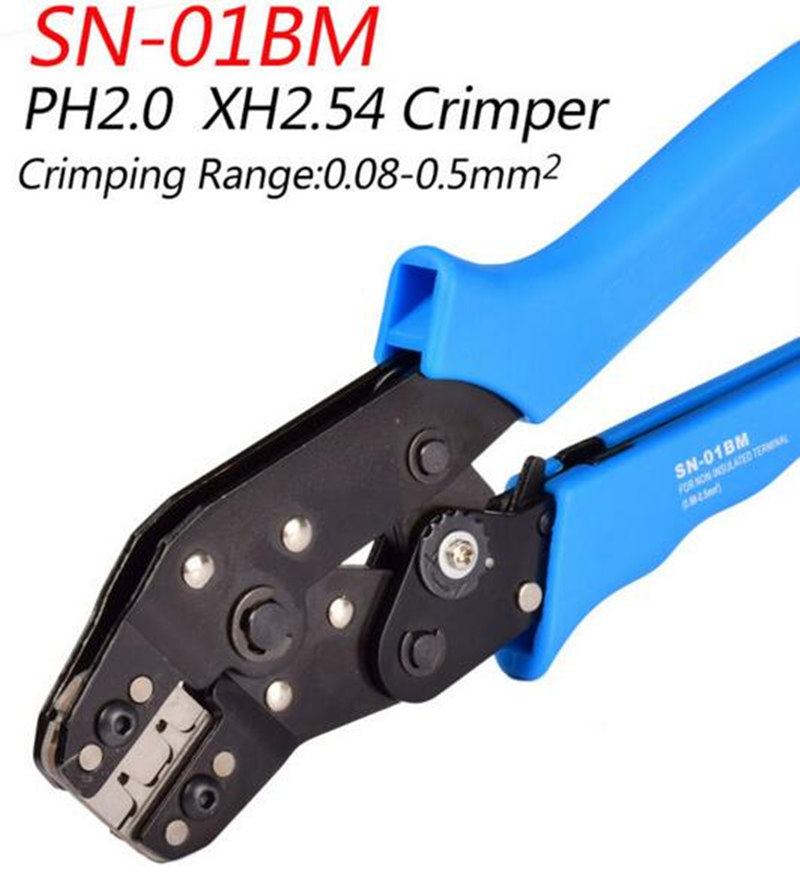 SN-01BM Crimp Tool for JST, ZH1.5, 2.0PH , 2.5XH,EH, SM, & Servo Connectors For D-SUB Terminals Sq.mm 0.08-0.5 AWG28-22