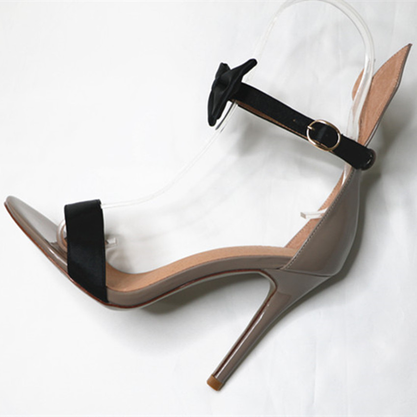007eaaaa278 US $97.02 |Fashion Patent Leather High Heels Women Satin Bow Ankle Strap  Sandals Sexy Party Lady Shoes Woman Handmade Sandal Dropshipping-in High ...