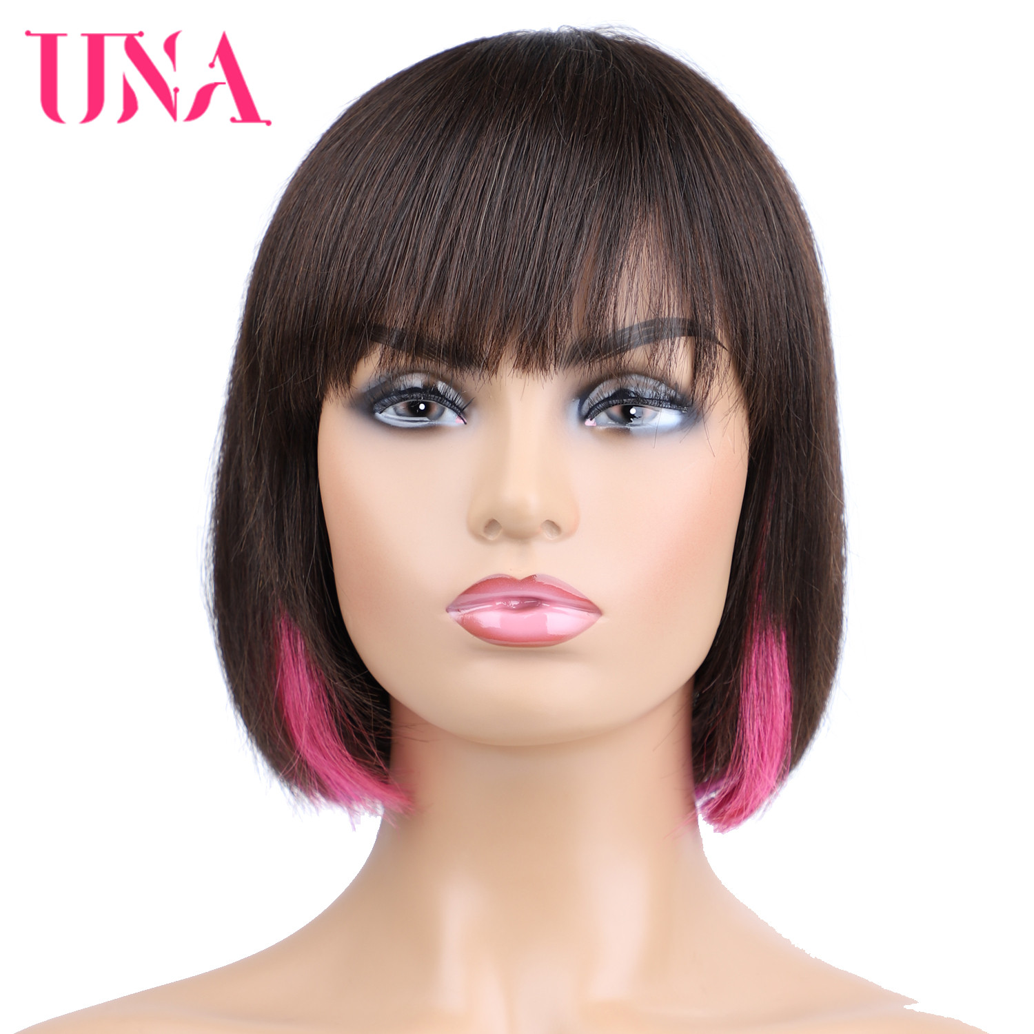 Brazilian Human Hair Wigs Non-Remy Hair BOBO Wigs Straight Machine Human Wigs With MOMO Web 10 Inches Long 12 Colors Avalable