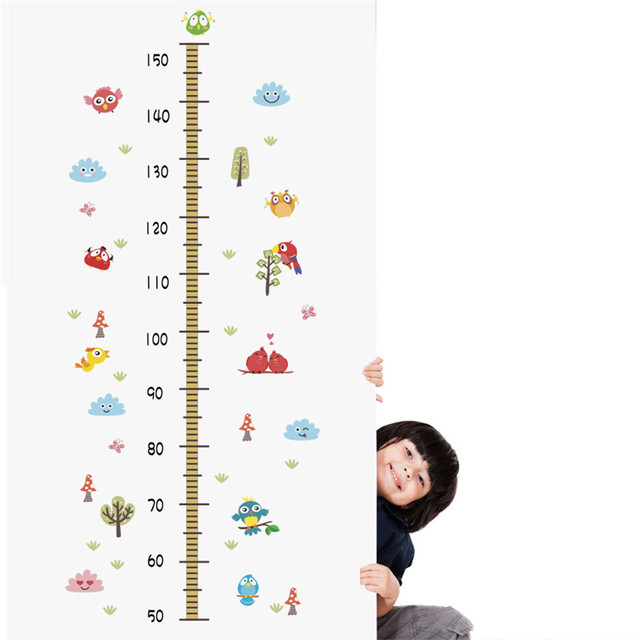Colorful Hot Air Balloon Bird Tree Height Measure Wall Stickers For Kids Room Flower Plant Growth Chart Decal Poster Mural
