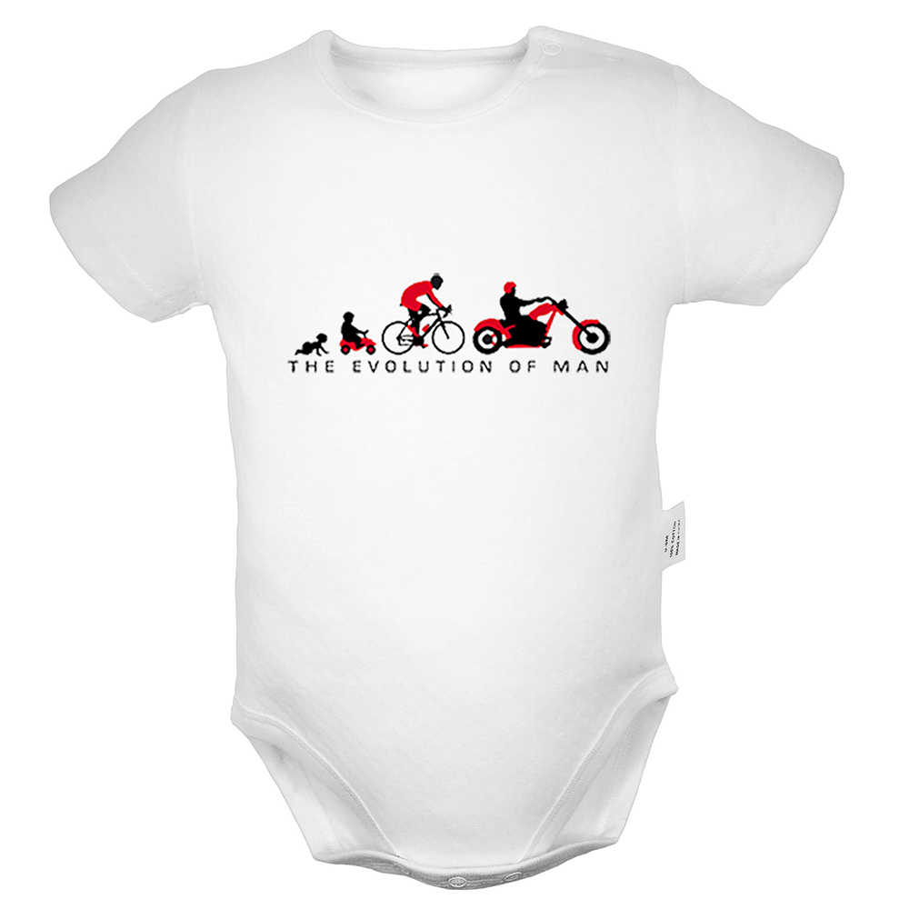 The Evolution of Man мотоцикл для байкеров, черный дизайн, Униформа-комбинезон для новорожденных мальчиков и девочек, боди для младенцев, комплекты одежды