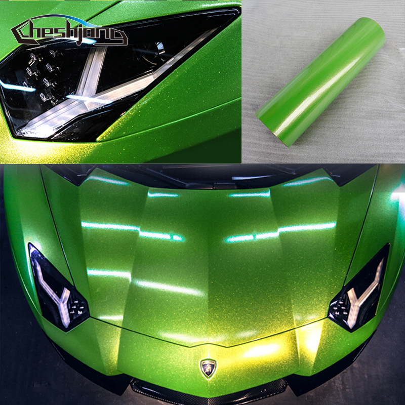 Glossy Diamond Shining Vinyl Gloss Glitter Green Bling Film for Car Motorcycle Scooter Computer Phone Decorative Sheet