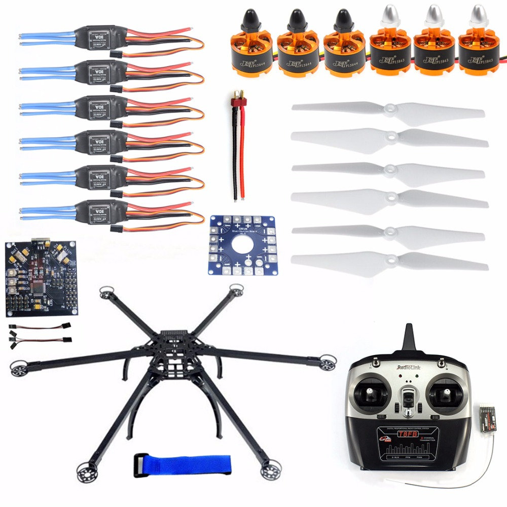 Six-Axle Multi-rotor DIY Folding Hexacopter Aircraft Frame Kit Radiolink T8FB TX&RX ESC Motor KK V2.3 Circuit board jmt six axle hexacopter gps drone kit with radiolink at10 2 4ghz 10ch tx