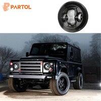 Partol 1pc Black 7 Round LED Headlight DRL Daymaker Projector Headlamp Car Light Hi Lo Beam