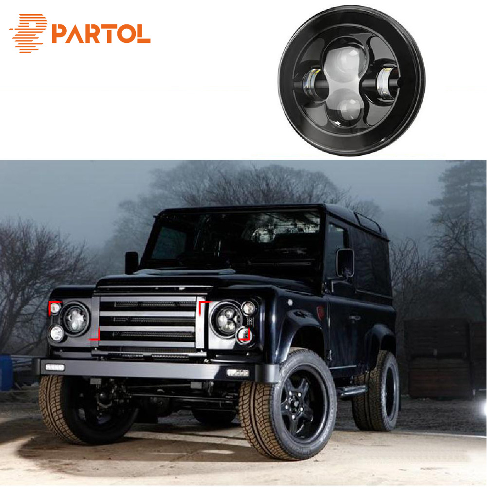 Partol 1pc Black 7 Round LED Headlight DRL Daymaker Projector Headlamp Car Light Hi Lo Beam for JEEP Wrangler Land Rover Lada 2pcs new design 7inch 78w hi lo beam headlamp 7 led headlight for wrangler round 78w led headlights with drl