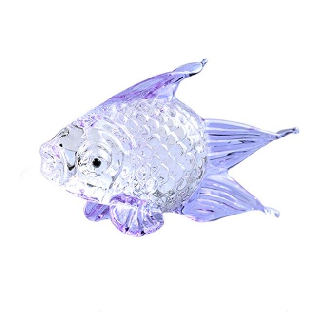 K9 Crystal Goldfish Figurine Craft Miniature Animal Crystal Model Glass Home Decor Ornament Kid's Room Decoration Gift Souvenir