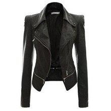 2019 Autumn Women faux Leather Jacket Gothic Black  moto jacket Zippers Long sleeve Goth Female PU Faux Jackets