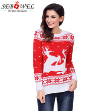 SEBOWEL 2019 New Christmas Fashion Pullovers Sweater Women Plus size Long Sleeves O-neck Reindeer Sweater Thick Tops S-XXL crew collar christmas sweater with reindeer graphic