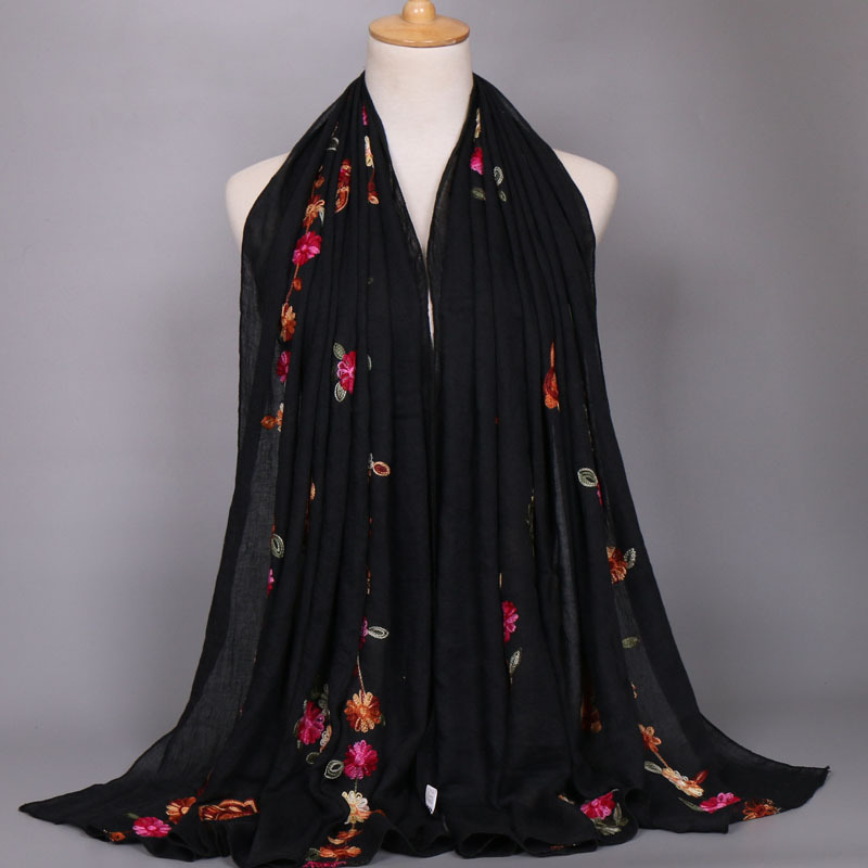 2019 Women Fashion Plain Stitch Cashew Floral Viscose Shawl   Scarf   From Indian Ethnic Print   Wrap   Pashmina Sjaal Muslim Hijab Caps