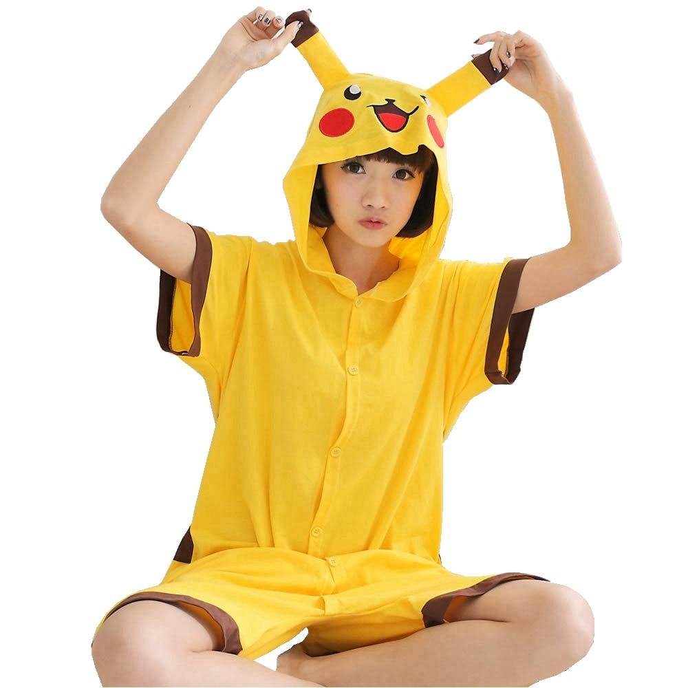 Pikachu Summer Short   Pajama     Set   Women Men Adult Animal Pijama Cotton Onesie Sleepwear Hoodie Halloween Holiday Party Costume