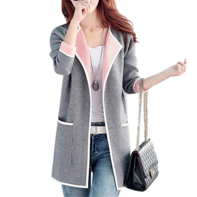 גודל גדול נשים סוודר חדש אביב סתיו נשים סריגת קרדיגן סוודרים ארוך אפורים מזדמן נשים לסרוג סוודרים RE0318