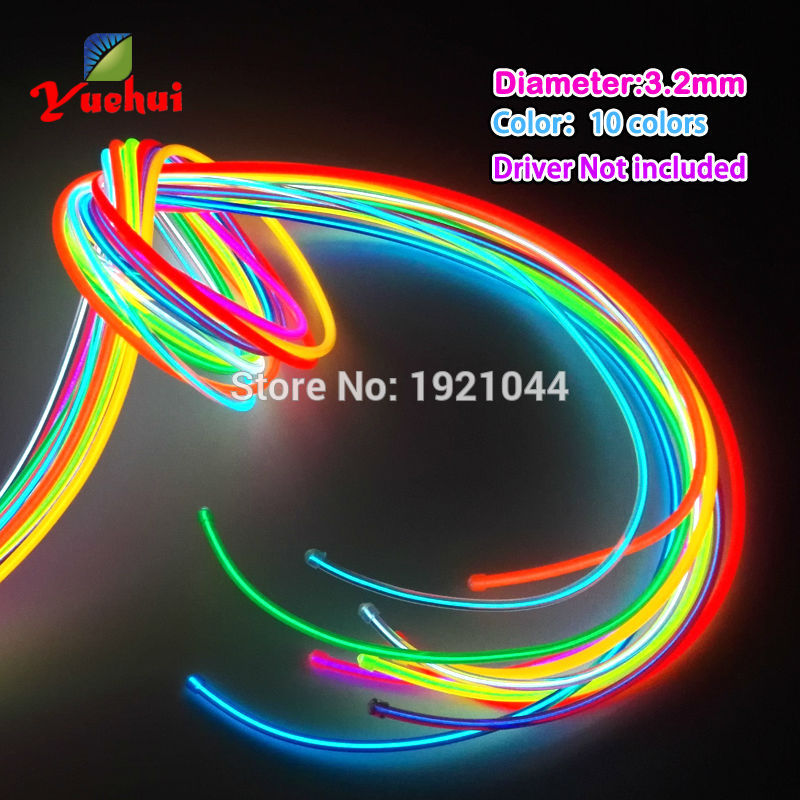 Hot Sales 3.2mm EL Wire Rope Rör Flexibel Neon Light 10 Färg Valet Inte Inkludera EL Controller För Leksaker Craft Party Decoration