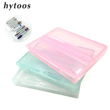 HYTOOS 14 Hole Nail Drill Bit Box 3/32″ Drill Holder Stand Transparent Acrylic Plastic Display Container For Drill Accessories