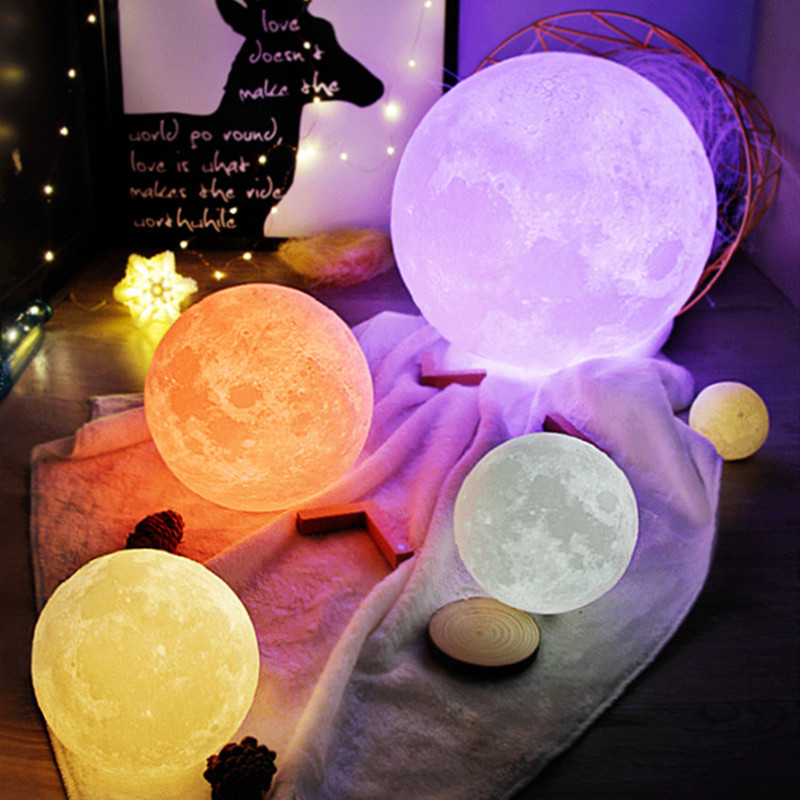 3D printing moon light 18cm 15cm 12cm colorful conversion creative touch USB night light home decoration creative birthday gift