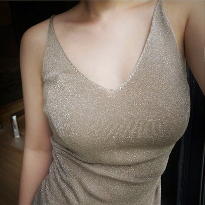2019 Sexy Knitted   Top     Tank   Women Sexy V Neck Sleeveless Vest T Shirt Summer Ladies Slim Strap Short   Tops   Roupas Femininas