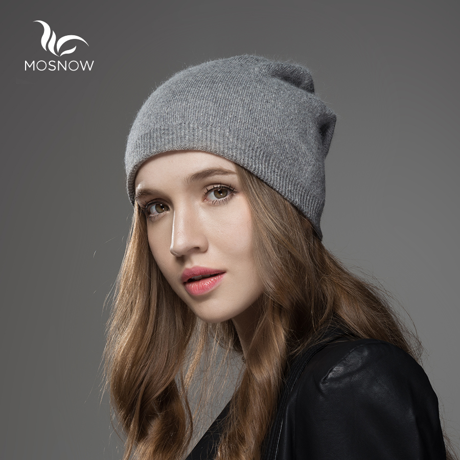 Mosnow 2016 New Solid Wool Winter Hats For Women Asymmetrical Knitted Vogue Brand Casual Warm Hat Female Skullies Beanies gorros femininos