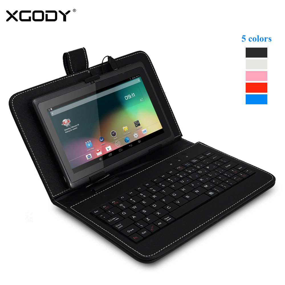 ФОТО XGODY T73Q 7 inch Tablet PC Android 4.4 AllWinner A33 Quad Core 1.3GHz 512MB RAM 8GB ROM WiFi OTG Free Keyboard Case  8GB Card