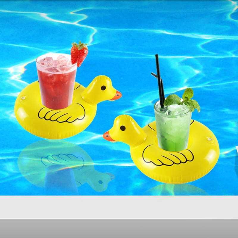 พองมินิเหลืองเป็ดเครื่องดื่มลอยสระว่ายน้ำลอยพองเหลืองเป็ดถ้วยh olderสระว่ายน้ำพรรคเครื่องดื่มลอยเด็กว่ายน้ำของเล่น