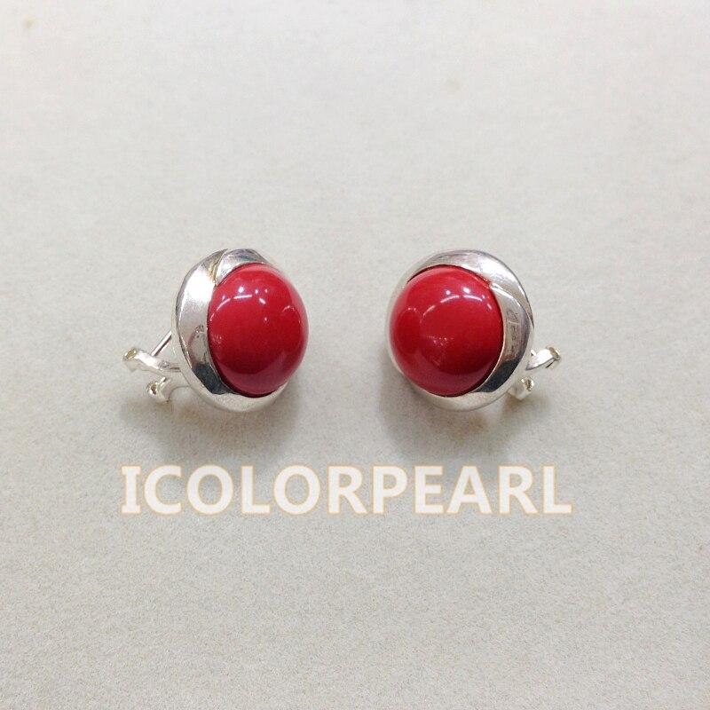 WEICOLOR belle 14 MM synthétique corail rouge ou d'autres clous de boucle d'oreille en argent de pierre.