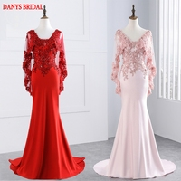 Pink Or Red Lace Mermaid Evening Dresses Long Party With Capes Women Sequin Tulle Beaded Formal