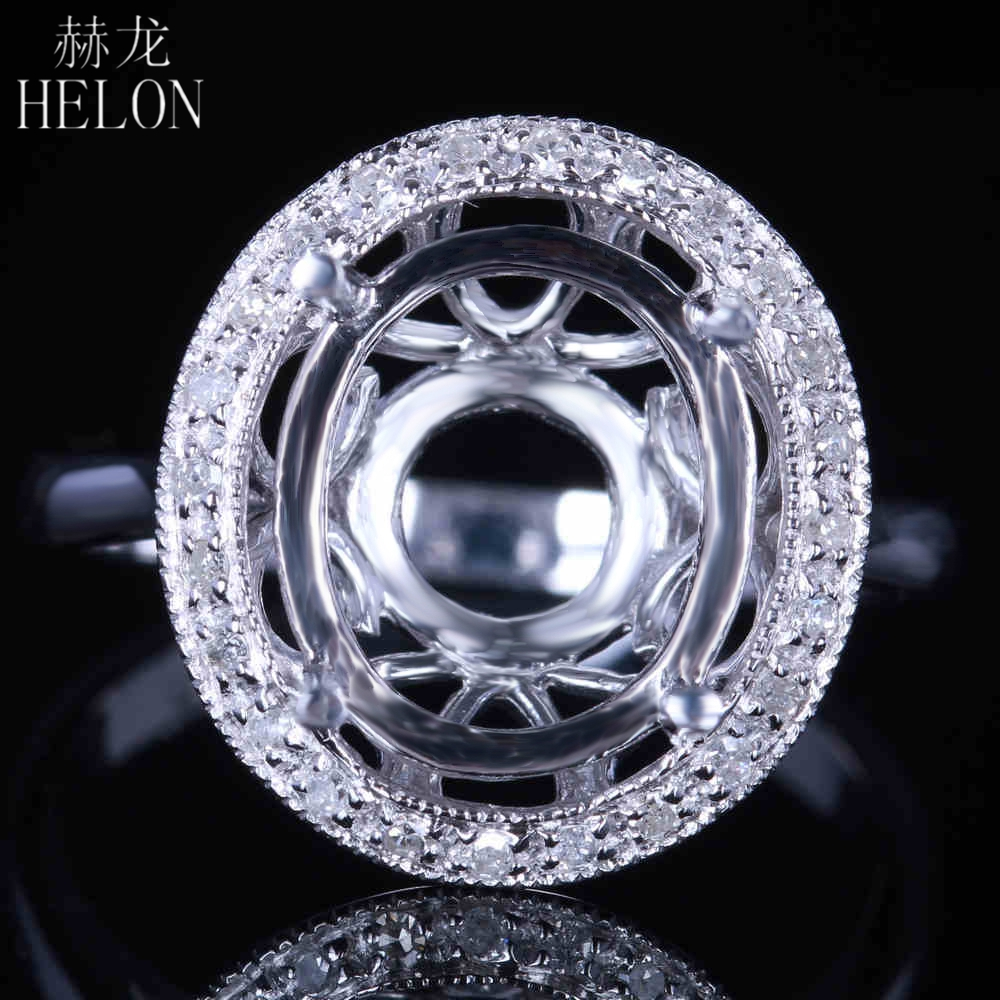 HELON Solid 14k White Gold 12x10mm Oval Shape Pave Natural Diamonds Engagement Wedding Semi Mount Ring Women's Jewelry Fine Ring цена