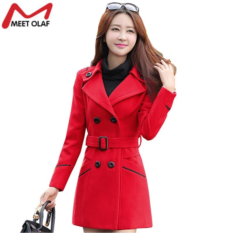 Women Woolen Coats 2017 New Female Winter Jackets Elegant Wool Blends Trench Coat Ladies Windbreaker Outwear