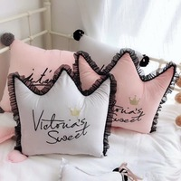 Black Lace edge Cushion Crown shaped Crystal velet Nordic Cushion pillow girl's bedroom decoration Removable hold pillow cushion