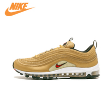 Original New Arrival Official NIKE AIR MAX 97 Metallic Gold Breathable Men's Running Shoes Sports Sneakers Trainers