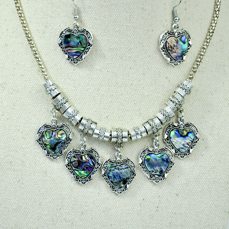 10 Sets Fashion Design Abalone shell Jewelry Set Vintage Antique Silver Women Famale Pendant Necklace Earring Sets Top LR4113