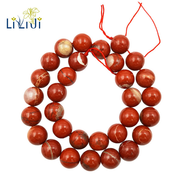 Lii Ji Natural Red Jasper 6-14mm Round beads DIY Jewelry Making Necklace Bracele