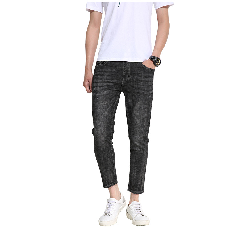 Jeans Men 2019 Spring and Autumn New Men's jeans Korean version of the Slim feet pants trend Casual Black jeans more size 28-36(China)