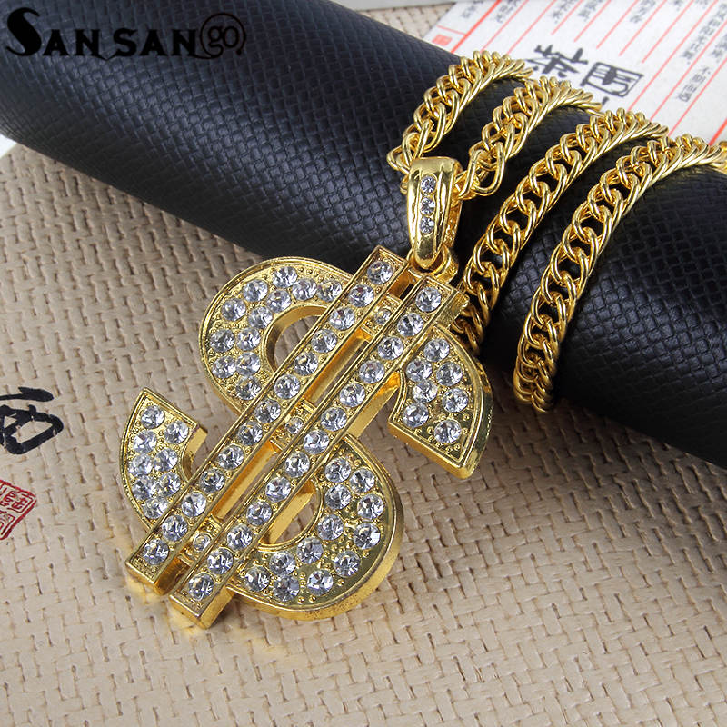 Gold Color Dollar Sign Maple Leaf Pendant Long Gold Chains Hip Hop Bling Necklace For Woman Men Mujer