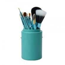 12pcs Blue Makeup Brushes Professional Cosmetic Set Eyeshadow Powder Brush Blusher with Holder Kabuki Makeup Brushes