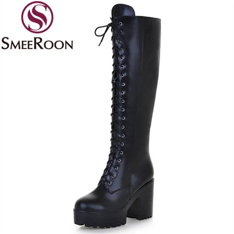 Smeeroon Women's Shoes Platform-Boots Lace-Up Side-Zipper High-Heels Knee Woman New Thick