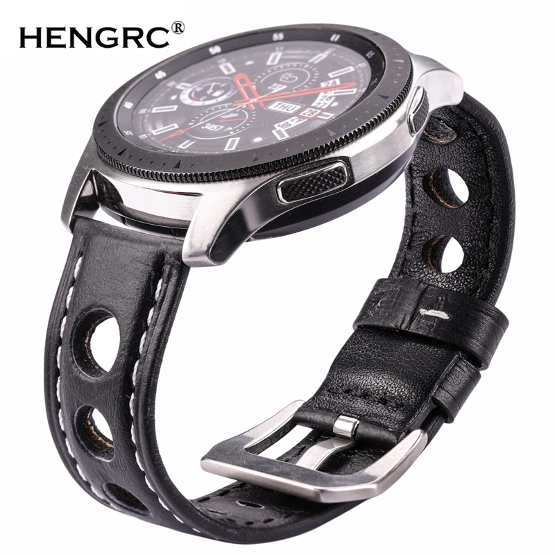 HENGRC 4 Color Watch Accessories Watchbands Vintage Genuine Leather Watch Band Strap With Stainless Steel Buckle 20mm 22mm 24mm
