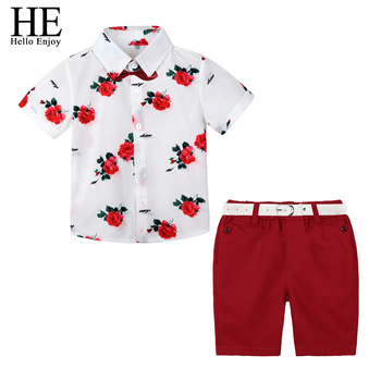 HE Hello Enjoy Boys Boutique Clothing Fashion Baby Boy Clothes Summer Set Gentleman Print Floral Bow Tie Shirt+Shorts Suits Kids
