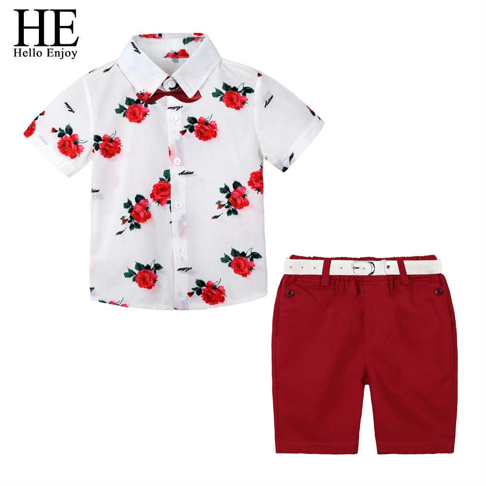 1a042fe1e HE Hello Enjoy Boys Boutique Clothing Fashion Baby Boy Clothes Summer Set  Gentleman Print Floral Bow Tie Shirt+Shorts Suits Kids