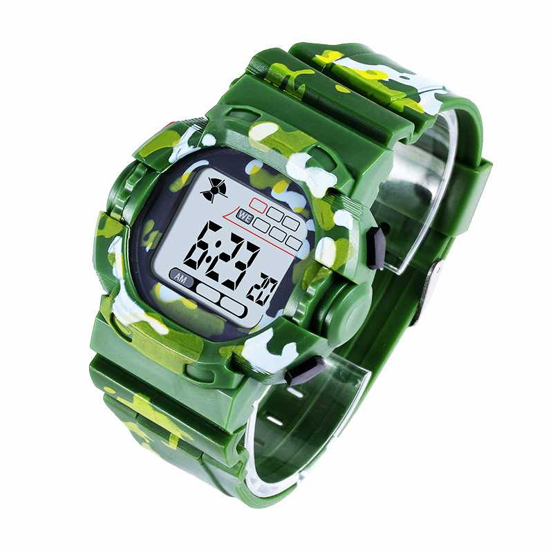 Sports Children's Watch Military Camouflage Student Watches Rubber Child Kids Boy LED Electronic Calendar Alarm Clock Luminous