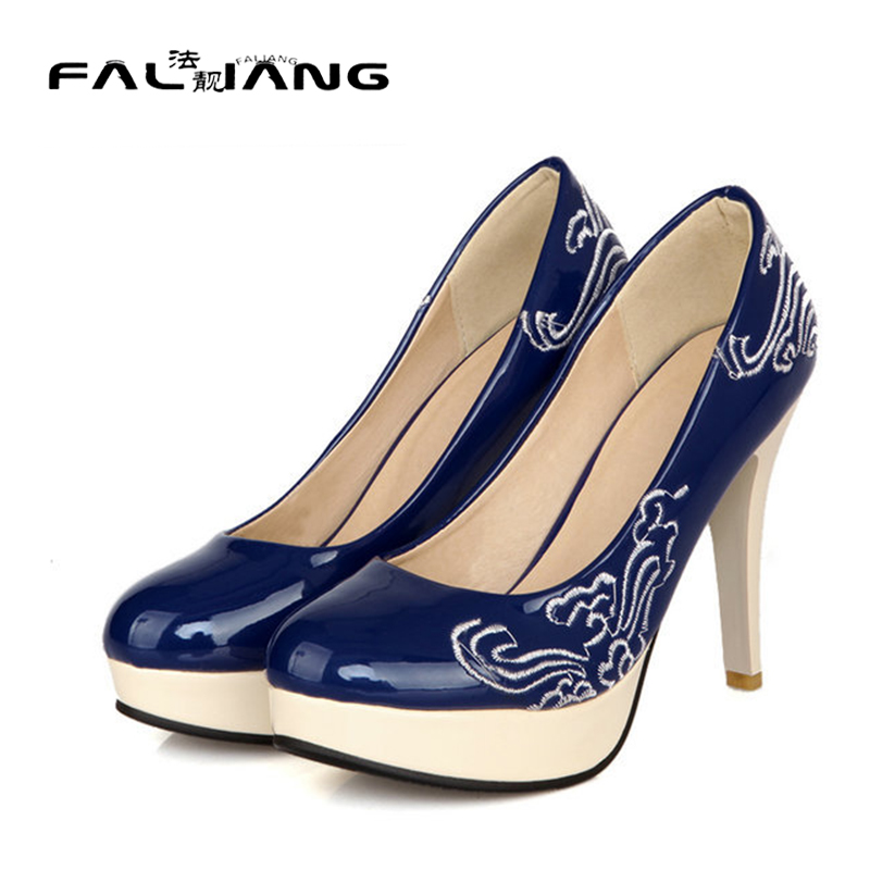 ФОТО New summer of the latest design sexy embroidered ladies thin high heels platform shoes large size 34-43