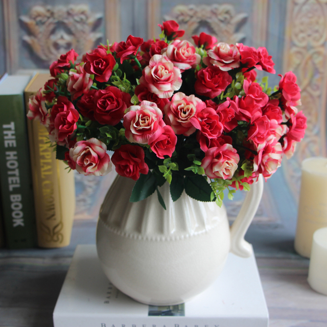 1pcs fake rose 15 heads spring artificial silk flowers bouquet 1pcs fake rose 15 heads spring artificial silk flowers bouquet bridal floral decor plant ikebana floriculture mightylinksfo