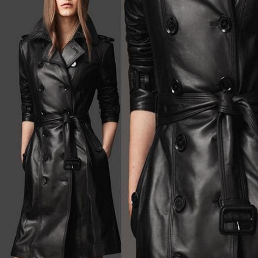Motorcycle new leather coat women's long coat women pu leather   trench   black plus size S-XXXL