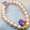 Original design 9-10mm orange natural pearl beads strand bracelet & bangle charms cloisonne women gift diy jewelry 7.5inch B2979