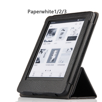 High Quality Genuine Real Leather Flip Stand Magnetic Sleeve Cover Case For Amazon Kindle Paperwhite 1