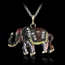 Crystal Vintage elephant necklace for Women Jewelry Antique Animal Necklace Pendant Long Necklace epacket drop shipping