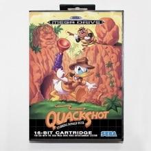 Sega MD games card Quack Shot with box for Sega MegaDrive Video Game Console 16 bit